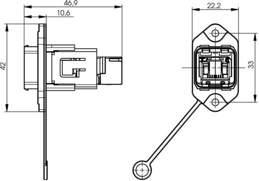 RJ45 peremes készlet változat 14 csatlakozóaljzat, beépíthető Pólus: 8P8C J80020A0010 fém Telegärtner Tartalom: 1 db
