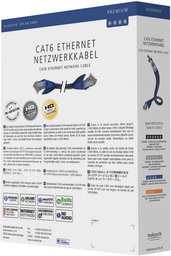 RJ45-ös patch kábel, hálózati LAN kábel CAT 6 S/FTP [1x RJ45 dugó - 1x RJ45 dugó] 1m kék, ezüst színű Inakustik 1180597