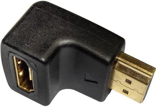 HDMI könyök adapter, 1x HDMI dugó - 1x HDMI aljzat 90°, aranyozott, fekete, Inakustik