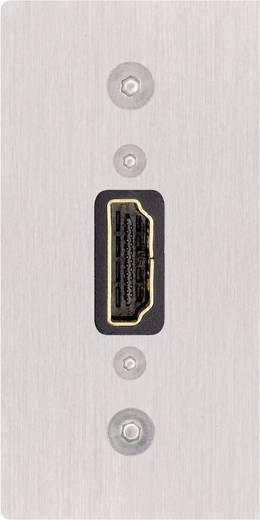 Előlapba szerelhető HDMI csatlakozó, 1x HDMI aljzat - 1x HDMI aljzat, 70 x 35 mm, ezüst, Inakustik