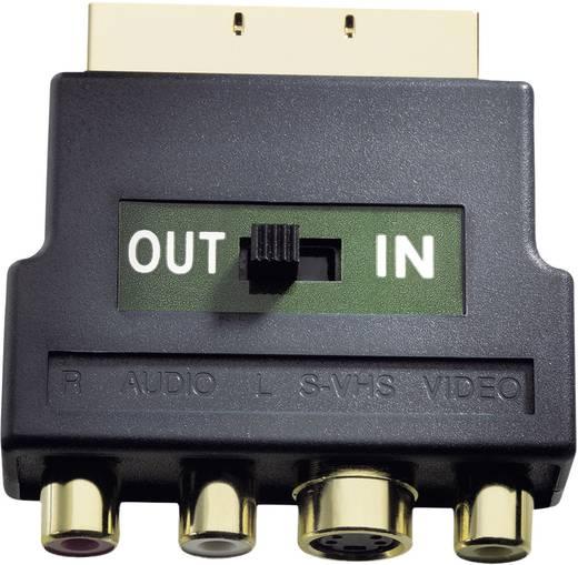 Scart - RCA, S-VHS átalakító, átkapcsoló adapter In-Out [3x RCA aljzat, S-Video aljzat - 1x Scart dugó] Inakustik 8323