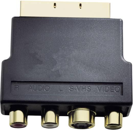 SCART - S-VIDEO, kompozit RCA átalakító adapter, 1x SCART dugó - 1x S-VIDEO aljzat, 3x RCA aljzat, fekete, Inakustik
