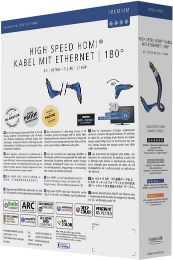HDMI TV, monitorkábel hajlítot dugókkal [1x HDMI dugó - 1x HDMI dugó] 1.50 m ezüst, kék színű Inakustik Premium 423115