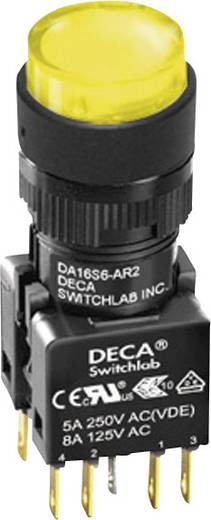 Nyomógomb 250 V/AC 5 A 1 x KI/(BE) DECA ADA16S6-MR1-B2KY IP65 Nyomó 1 db