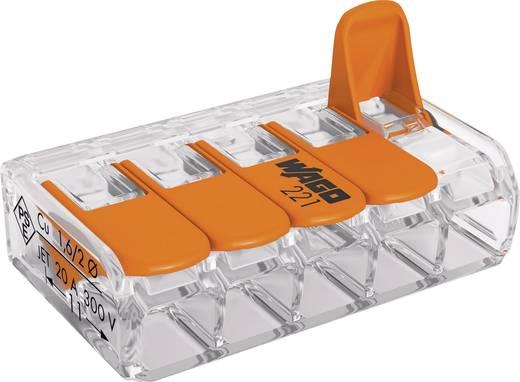Vezetékösszekötő hajlékony: 0.14-4 mm² merev: 0.2-4 mm² Pólusszám: 5 WAGO 221-415 1 db Átlátszó, Narancs