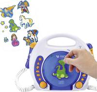 Gyermek karaoke szett, beépített CD lejátszóval, két mikrofonnal, USB-s, SD kártyás, fehér-kék X4-Tech Bobby Joey 701353 X4 Tech