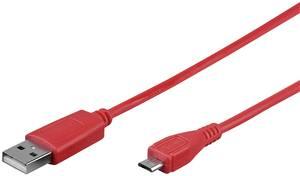 USB 2.0 Csatlakozókábel [1x USB 2.0 dugó, A típus - 1x USB 2.0 dugó, mikro B típus] 0.95 m Piros Goobay (43700) Goobay