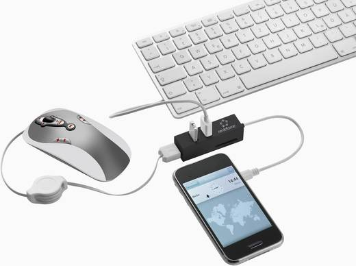 USB 2.0 OTG hub SD kártyaolvasóval + mikro B USB-ről mini USB-re átalakító, Renkforce