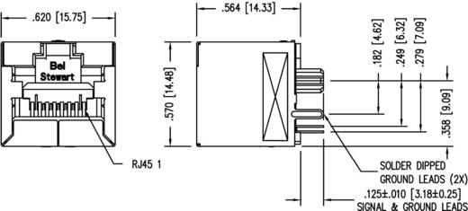 Moduláris beépíthető alj, függőleges, árnyékolt Cat.6a alj, Pólus: 8P8C SS-60300-016 nikkelezett, fém BEL S