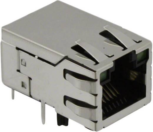 MagJack 10/100Base-TX 4 átvivő LED-ekkel alj, beépíthető vízszintes 10/100Base-TX Pólus: 8P8C SI-50170-F nikkelezett, Me