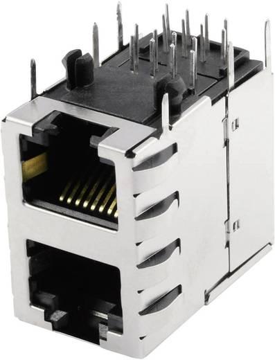 Moduláris beépíthető alj, Doppelstock 2x1 Port árnyékolt Cat.5 alj, Pólus: 8P8C SS-738811S-PG4-AC nikkelezett
