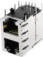 RJ45 beépíthető dupla csatlakozó aljzat, CAT5, vízszintes, BEL Stewart Connectors SS-738811S-PG4-AC (SS-738811S-PG4-AC) BEL Stewart Connectors