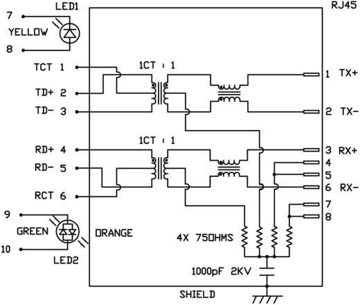 MagJack 10/100Base-TX 4 beépíthető csatlakozó aljzat, 8P8C, vízszintes, BEL Stewart Connectors 08B0-1X1T-06-F