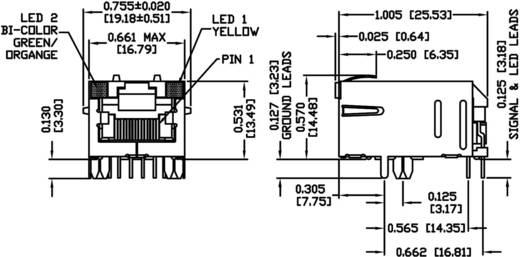 MagJack 10/100Base-TX 4 átvivő Pólus: 8P8C nikkelezett BEL Stewart Connectors 08B0-1X1T-36-F