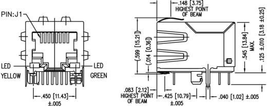 MagJack 10/100Base-TX 4 átvivő LED-ekkel, beépíthető Pólus: 8P8C nikkelezett, BEL Stewart Connectors SI-60062-F