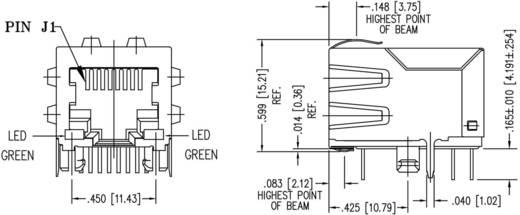 MagJack 10/100Base-TX 4 átvivő LED-ekkel, beépíthető Pólus: 8P8C nikkelezett, BEL Stewart Connectors SI-60118-F