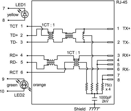 MagJack 10/100Base-TX 5 átvivő LED-ekkel alj, beépíthető vízszintes 10/100Base-TX Pólus: 8P8C nikkelezett, fém BEL S