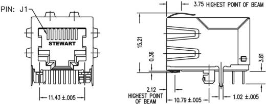 MagJack 10/100Base-TX 5 átvivő Tab down alj, 10/100Base-TX Pólus: 8P8C nikkelezett, fém BEL SI-60123-F