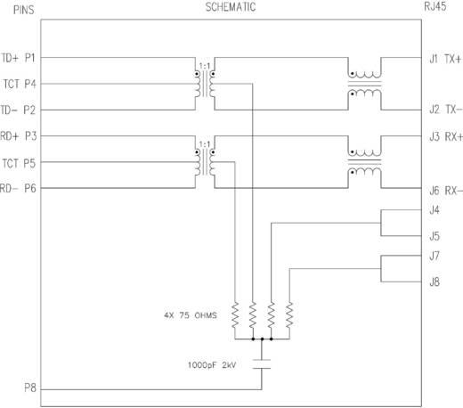 MagJack 10/100Base-TX 2 Port, 4 átvivő, LED-el, Tab down alj, vízszintes 10/100Base-TX Pólus: 8P8C nikkelezett