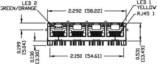 MagJack 10/100Base-TX 4 Port 4 átvivő LED-ekkel alj, beépíthető vízszintes 10/100Base-TX Pólus: 8P8C nikkelezett, fém