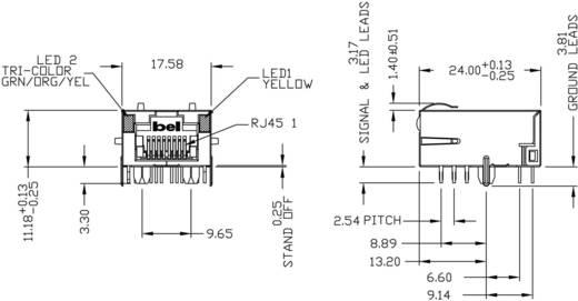 MagJack 10/100Base-TX 5 átvivő Tab down alj, 10/100Base-TX Pólus: 8P8C nikkelezett, fém BEL L829-1J1T-43