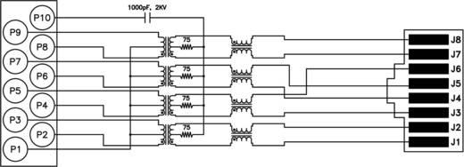 MagJack Gigabit Ethernet 8 átvivő LED-el, Tab down alj, beépíthető, vízszintes Gigabit Ethernet Pólus: 8P8C nikkelezett