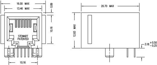 RJ12 beépíthető csatlakozó aljzat, 6P6C, vízszintes, BEL Stewart Connectors SS64600-015F