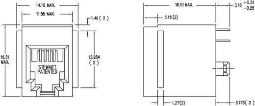 RJ10 beépíthető csatlakozó aljzat, 4P4C, függőleges, BEL Stewart Connectors SS65400-001F