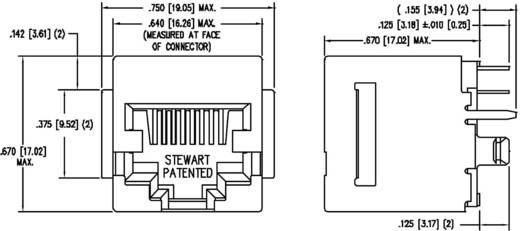 Moduláris beépíthető alj, függőleges, árnyékolt peremmel, Pólus: 10P8C SS-650810S-A-FLS nikkelezett, Me