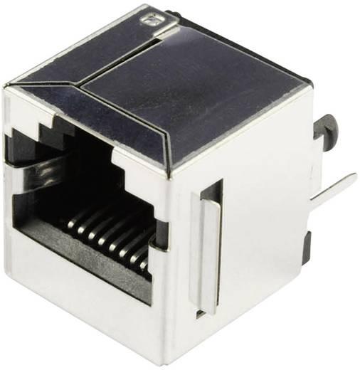 Moduláris beépíthető alj, függőleges, árnyékolt peremmel, Pólus: 10P8C SS65100-022F nikkelezett, fém