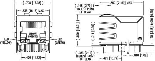 Moduláris beépíthető alj LED-ekkel árnyékolt alj, beépíthető vízszintes Pólus: 8P8C SS74800-038F nikkelezett,