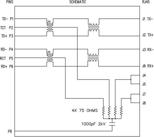 MagJack 10/100Base-TX 4 beépíthető csatlakozó aljzat, 8P8C, függőleges, BEL Stewart Connectors SI-16004-F