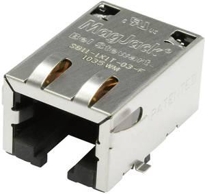 MagJack 10/100Base-TX 5 átvivő Tab down alj, beépíthető vízszintes 10/100Base-TX Pólus: 8P8C S811-1X1T-03-F nikkelezett BEL Stewart Connectors
