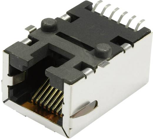 MagJack 10/100Base-TX 5 átvivő Tab down alj, beépíthető vízszintes 10/100Base-TX Pólus: 8P8C S811-1X1T-03-F nikkelezett