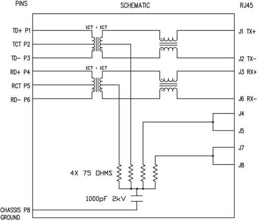 MagJack 10/100Base-TX függőleges, 4 átvivő, LED-el, beépíthető 10/100Base-TX Pólus: 8P8C SI-46001-F Vernick