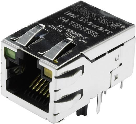 MagJack 10/100Base-TX PoE 4 átvivő LED-ekkel alj, beépíthető vízszintes PoE Pólus: 8P8C SI-52008-F nikkelezett, fém B