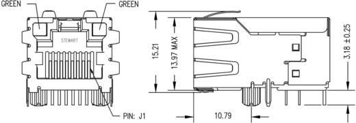 MagJack 10/100Base-TX PoE 5 átvivő LED-ekkel alj, beépíthető vízszintes PoE Pólus: 8P8C SI-51005-F nikkelezett, fém B