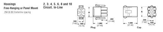 Universal csatlakozódugó ház, 3 pólus, RM 6,35 mm, TE Connectivity Universal-MATE-N-LOK 350766-4