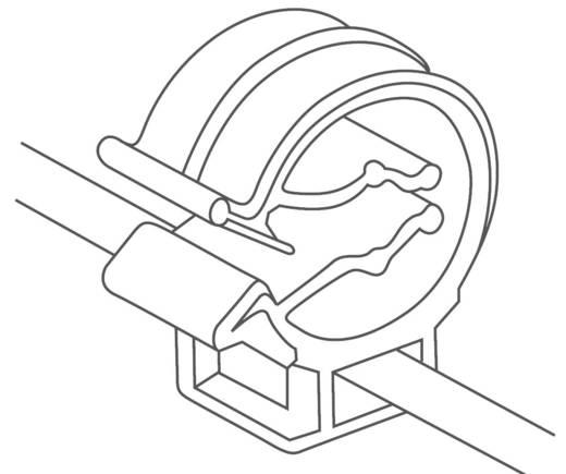 Rögzítő kötöző, 2 részes, tömlőtartóval (H x Sz) 200 mm x 4.6 mm T50ROC1B Szín: Fekete 1 db HellermannTyton
