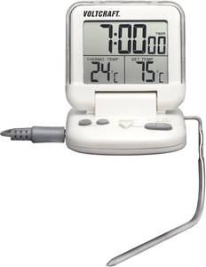 Ételhőmérő, beszúró konyhai hőmérő, hús és hűtő hőmérő, visszaszámláló időzítővel Voltcraft DET-3T VOLTCRAFT
