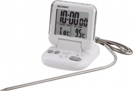 Ételhőmérő, beszúró konyhai hőmérő, hús és hűtő hőmérő, visszaszámláló időzítővel Voltcraft DET-3T
