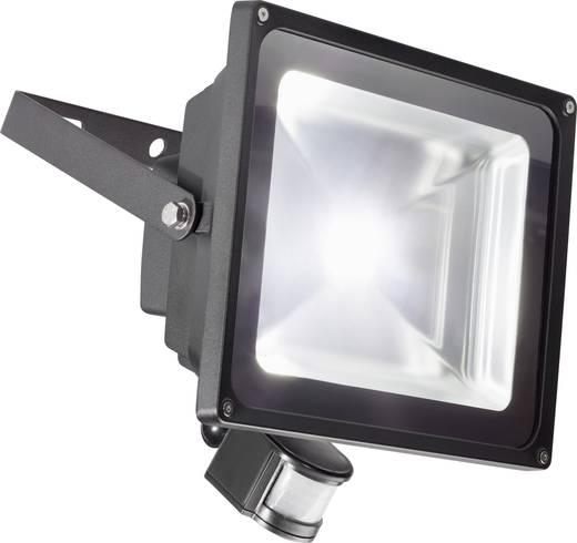 LED-es kültéri fényszóró mozgásérzékelővel 50 W Hidegfehér Renkforce TL-F50CW-P Fekete