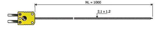 B&B K-típusú hőmérséklet-érzékelő, beszúrós véggel, -50 - 400 °C (NiCrNi)