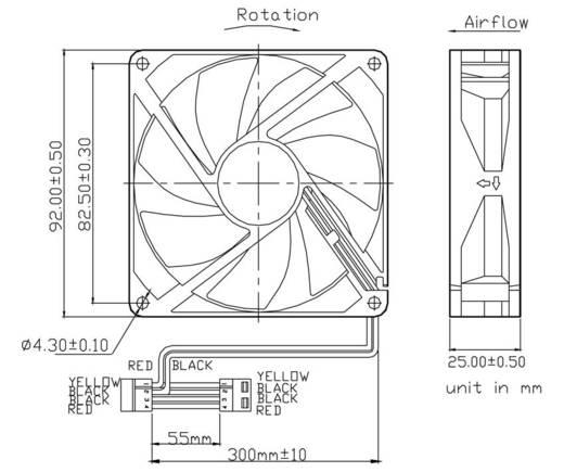 Axiális ventilátor (ipari) 12 V/DC 86.28 m³/h (Sz x Ma x Mé) 92 x 92 x 25 mm