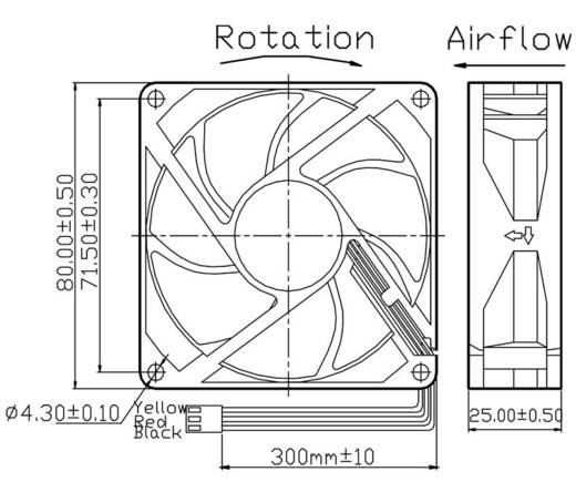 Axiális ventilátor (ipari) 12 V/DC 46.2 m³/h (Sz x Ma x Mé) 80 x 80 x 25 mm FD128025LB-N(2F3)