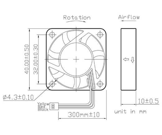 Axiális ventilátor (ipari) 12 V/DC 9 m³/h (Sz x Ma x Mé) 40 x 40 x 10 mm, FD124010MB(2A5)