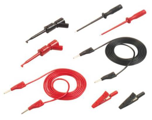 Multiméter mérőkábel készlet, mérőzsinór készlet mérőtűvel, mérőcsipesszel, 2mm-es banándugós 1m SKS Hirschmann PMS 2