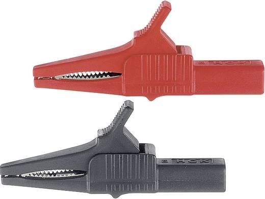 Szigetelt krokodilcsipesz, mérőcsipesz CAT II/1000V-ig 4mm-es banándugó aljzattal, piros Multicontact XKK-1001
