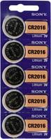CR2016 lítium gombelem, 3 V, 90 mA, 5 db, Sony BR2016, DL2016, ECR2016, KCR2016, KL2016, KECR2016, LM2016 (111642) Sony