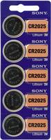CR2025 lítium gombelem, 3 V, 160 mAh, 5 db, Sony BR2025, DL2025, ECR2025, KCR2025, KL2025, KECR2025, LM2025 (111643) Sony